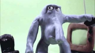 Blue Alien Claymation Characters first steps